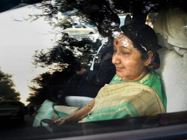 External affairs minister Sushma Swaraj leaves after meeting with home minister Rajnath Singh at his residence in New Delhi on Monday.