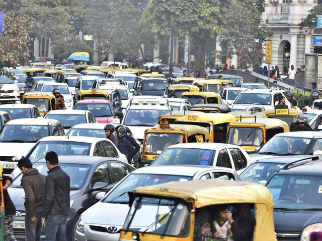View of a Traffic Jam on the inner circle at Connaught Place in New Delhi on Sunday.
