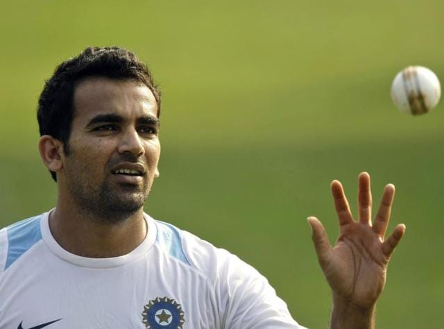 A file photo of  Zaheer Khan attending a practice session ahead of the third cricket one day international match against New Zealand.