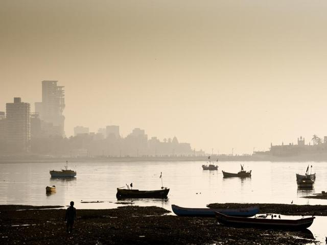 A thick blanket of smog over the city's skyline at Haji Ali on Monday.