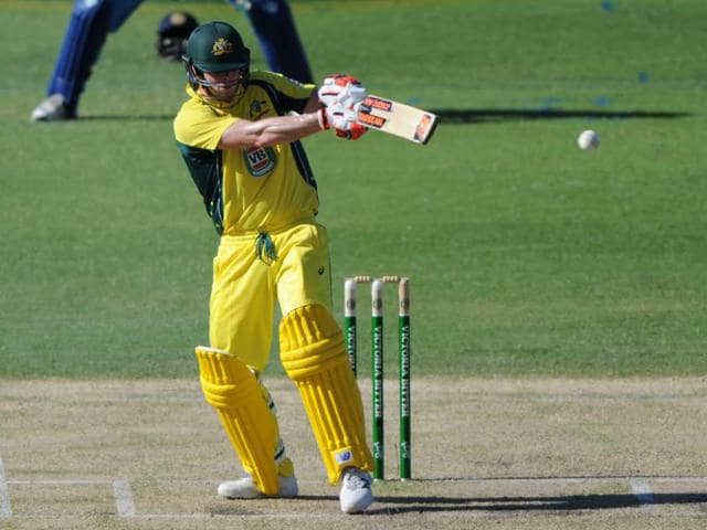 Australian batsman Steve Smith plays a shot during the one-day international cricket match.