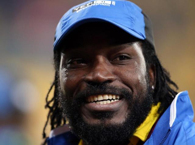 West Indies captain Chris Gayle hits the ball against New Zealand in Wellington.
