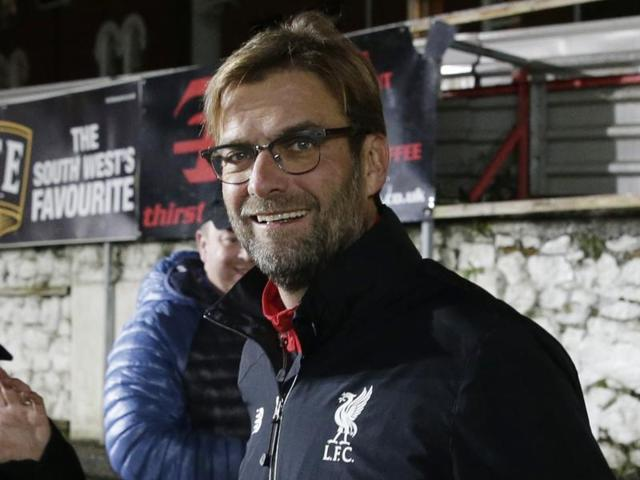 Liverpool manager Juergen Klopp gestures during the first leg of the English League Cup semifinal soccer match between Stoke City and Liverpool at the Britannia Stadium, Stoke on Trent, England, Tuesday, Jan. 5, 2016. (AP Photo/Rui Vieira)