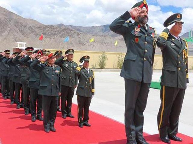 Indian and Chinese military personnel meeting during The Sino-Indian Border Personnel Meet  in Ladakh. Talks are underway between the two countries to open a sixth meeting point for their respective armed forces along the Line of ActualControl to strengthen communication between the two nations' armed forces.