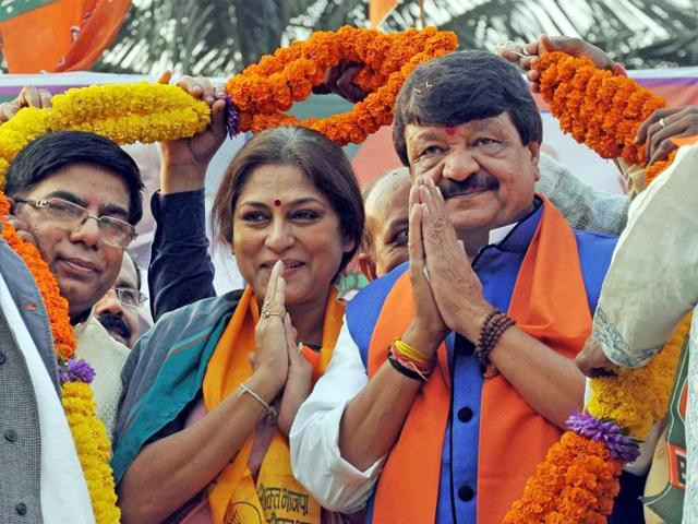 BJP Leader Kailash Vijayvargiya with actress turned BJP leader Rupa Ganguly during their party rally against State Government,in Nadia district of West Bengal