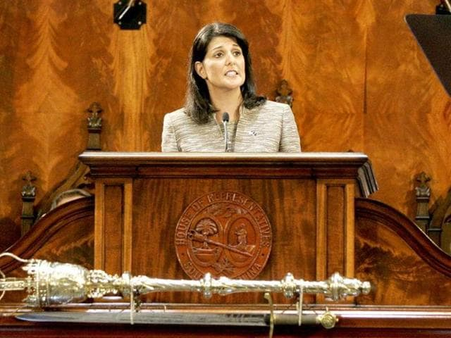 South Carolina Governor Nikki Haley  addresses the  joint session of the legislature at the Statehouse in Columbia.