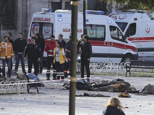 Rescue teams gather at the scene after an explosion in central Istanbul in Turkey.