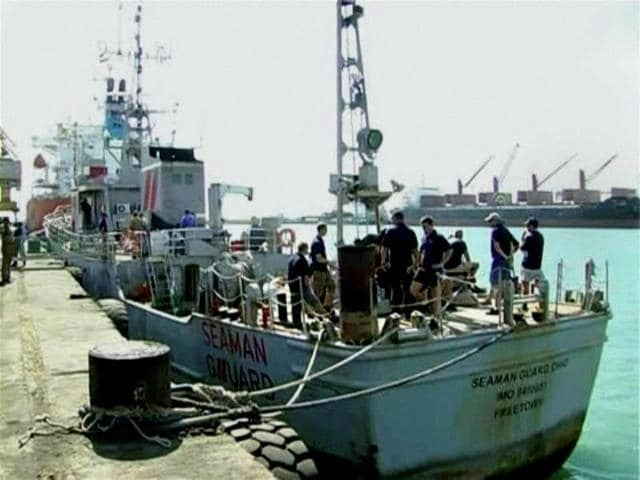 """The US vessel, MV Seaman Guard Ohio, detained by the Coast Guard after it entered Indian waters carrying illegal arms and ammunition at Tuticorin Port. British MPs have described the court's recent decision to imprison all on board - including 6 British citizens - for five years as a """"miscarriage of justice""""."""