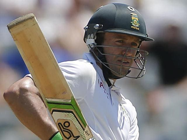 South Africa's AB de Villiers looks back as he plays a shot during their second Test cricket match against England in Cape Town.