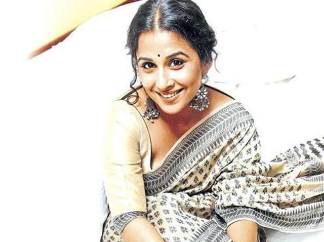 Vidya Balan in her trademark attire. (HT)