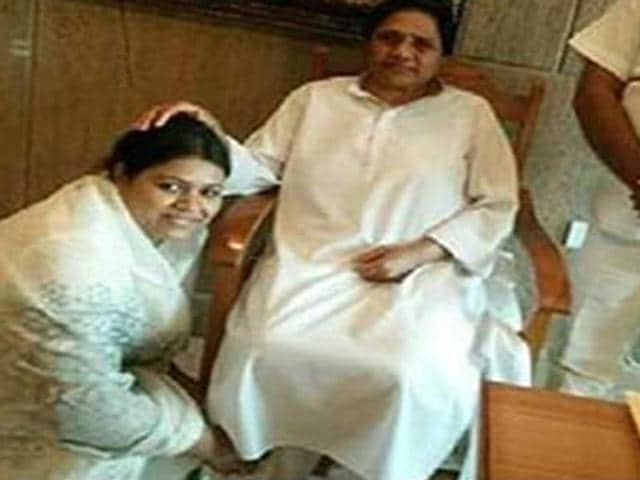 BSP has cancelled the ticket of its Atrauli seat candidate for the 2017 assembly polls Sangeeta Chowdhury on grounds of indiscipline, after she posted a picture on Facebook in which she and her children are seen touching the feet of party supremo Mayawati