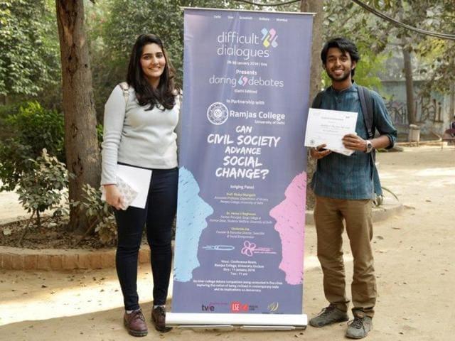 Winners of Daring Debates, Ananya Nanda and Krishtijeet Das at the Delhi event.