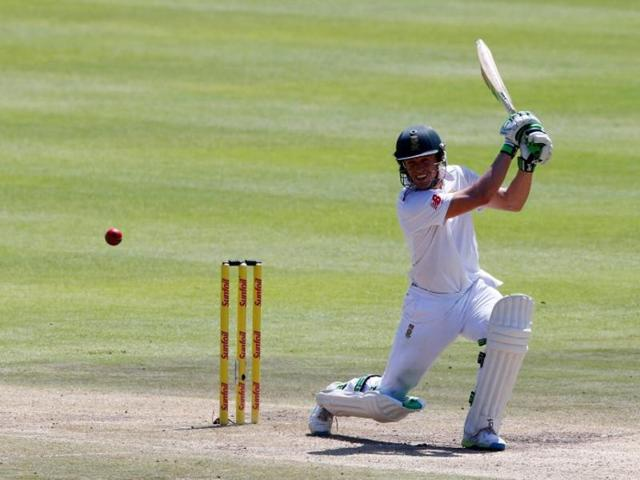 South Africa's AB de Villiers plays a shot during the second cricket test match against England in Cape Town, South Africa.
