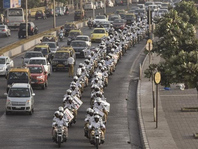 Police bikers drive past Marine Drive after CM Devendra Fadnavis flagged-off a rally on Tuesday.