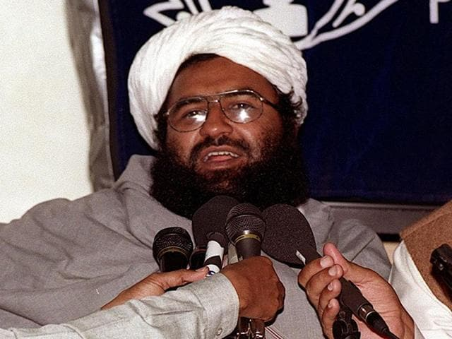 In this file photo taken on February 4, 2000, Maulana Masood Azhar, head of the Jaish-e-Mohammad group addresses a press conference in Karachi.