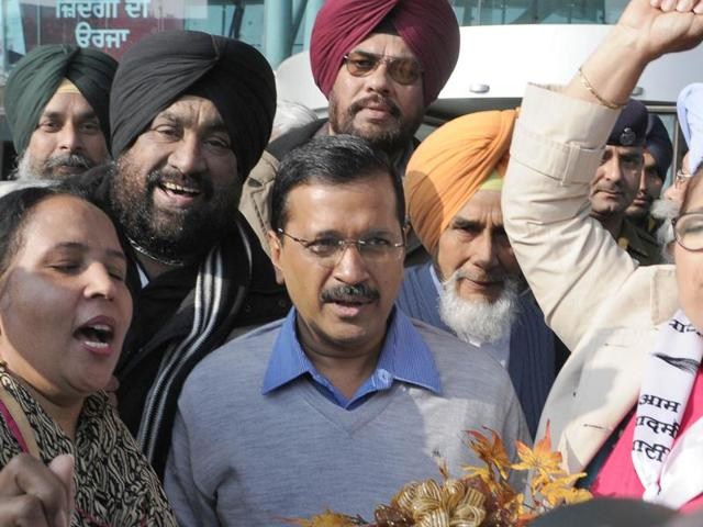 Leaders and workers of Aam Adami Party welcoming Arvind Kejriwal at International Airport  in Amritsar.