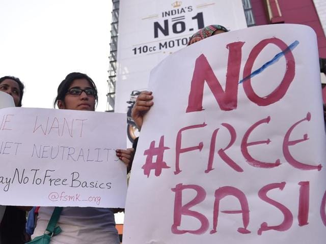 Demonstrators of Free Software Movement Karnataka hold placards during a protest against Facebook's Free Basics initiative, in Bangalore.