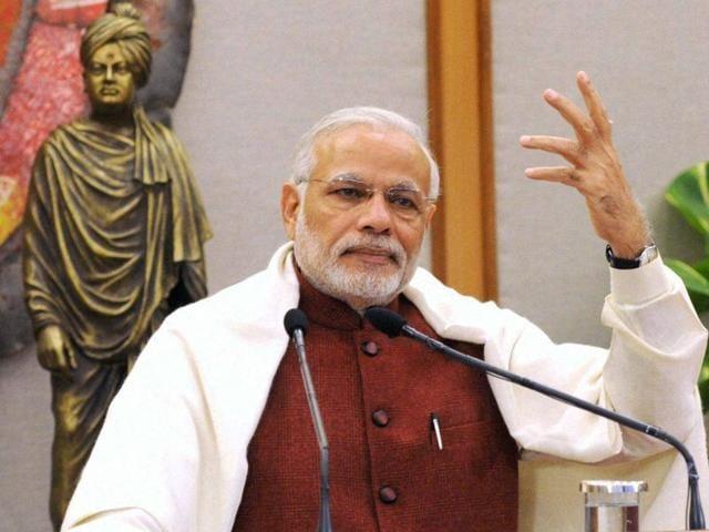 Prime Minister Narendra Modi addressing the National Youth Festival at Naya Raipur, Chhattisgarh via video conference on Tuesday.