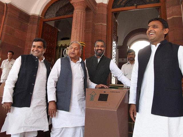 Samajwadi Party leaders Mulayam Singh Yadav, Akhilesh Yadav, Dharmendra Yadav and Neeraj Shekhar at Parliament House on the opening day of Budget session, in New Delhi. PTI Photo by Kamal Singh