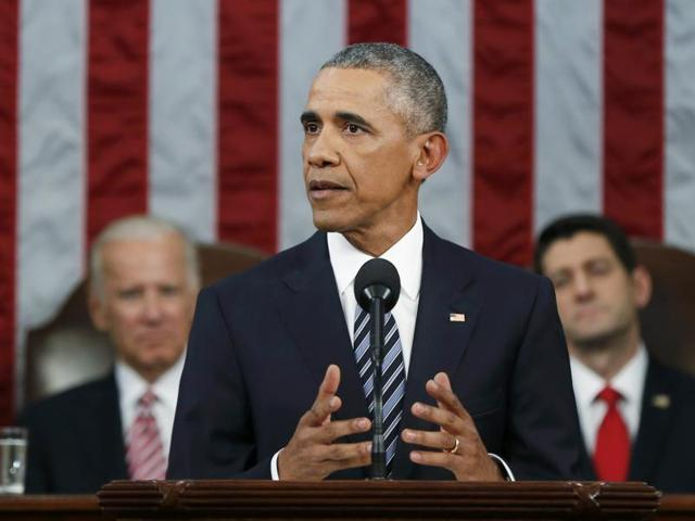US President Barack Obama delivers his final State of the Union address to a joint session of Congress in Washington.