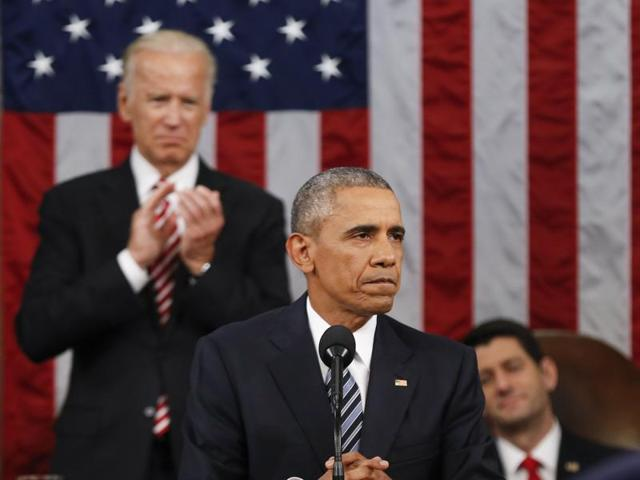 US President Barack Obama's State of the Union address before a joint session of Congress on Capitol Hill in Washington.