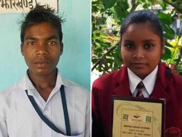 A combination of photos shows Anil Singh, a farmer's son and Pushpa Kumari, daughter of a labourer, who are are among a group of young talented Indians who have been chosen to represent the country at a science congress to be held in Japan.(HT Photo)