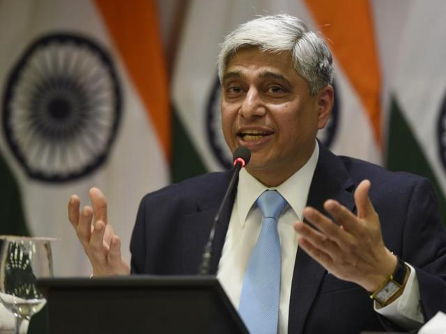Official Spokesperson and Joint Secretary Ministry of External afairs (MEA), Vikas Swarup addresses the media on Pakistan issues, in New Delhi, India, on Thursday, January 14, 2016.