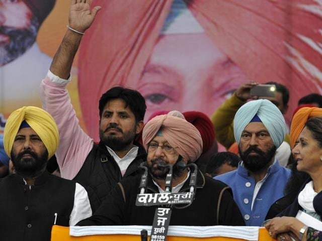 PPCC president Capt Amrinder delivers speech during the Maghi Mela rally at Muakatsar on Thursday.