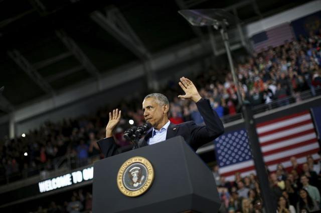US President Barack Obama delivers remarks at University of Nebraska Omaha arena, in Omaha, Nebraska.
