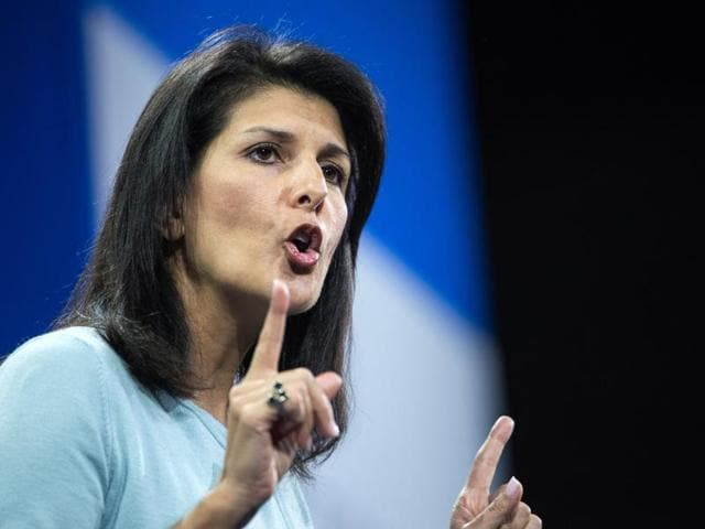 "In her speech Nikki Haley tried to jab her party's White House front-runner Trump by urging Americans to resist ""the siren call of the angriest voices"" on immigration."