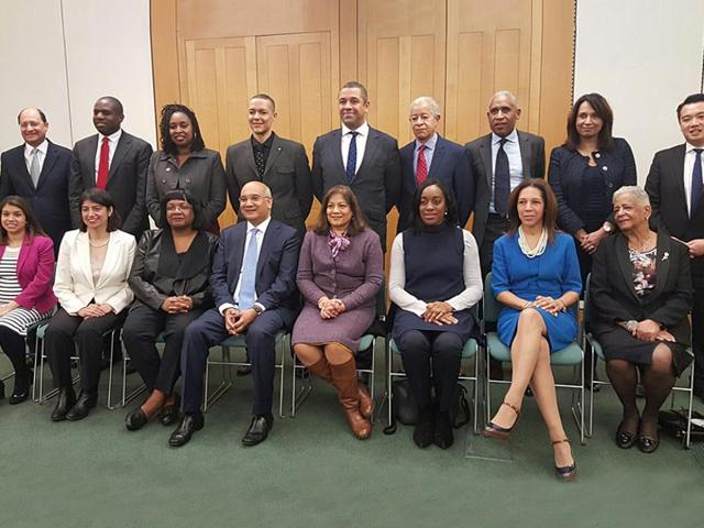 Several of the 41 British MPs from a black and ethnic minority background were celebrated at an event in parliament on Wednesday. They include Shailesh Vara (standing, extreme left); Seema Malhotra (sitting, second from left) and Keith Vaz (sitting, fourth from left).