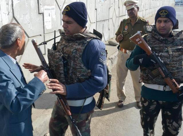 Indian army personnel take up position on the perimeter of an airforce base in Pathankot.