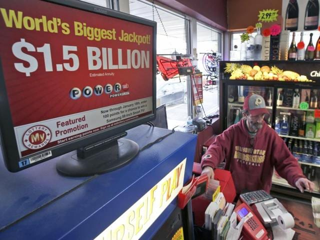 The winning Powerball number is shown after being drawn at the Florida Lottery studio in Tallahassee, Florida.