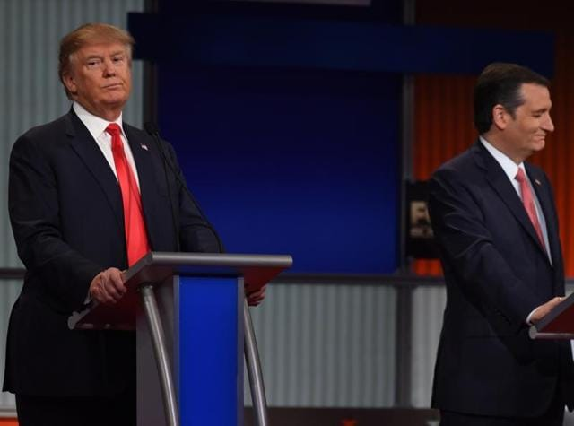 Republican Presidential candidate businessman Donald Trump (L) and businessman Texas Senator Ted Cruz participate in the Republican Presidential debate.