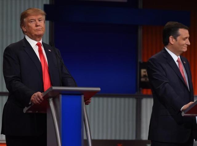 Republican Presidential candidate businessman Donald Trump (L) and businessman Texas Senator Ted Cruz participate in the Republican Presidential debate.