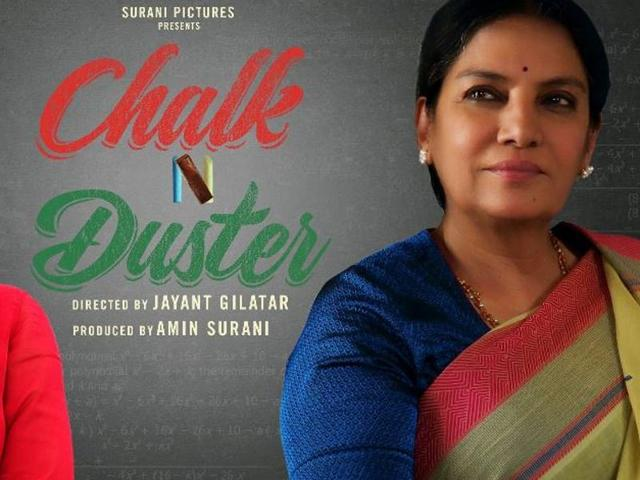 Juhi Chawla and Shabana Azmi on the poster of Chalk N Duster.