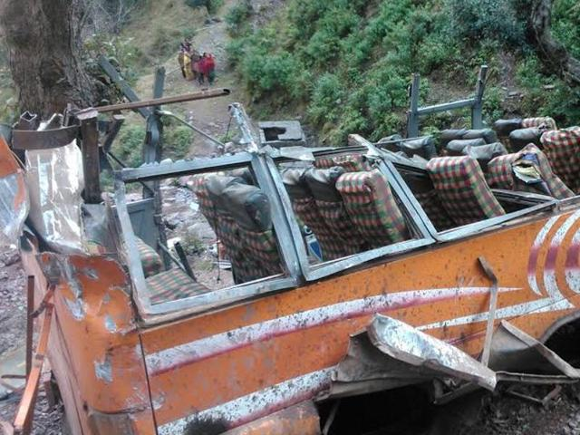 A passenger being shifted to a nearby hospital after being injured when a Basantgarh-bound bus fell down a 400-ft gorge near Ramnagar in Udhampur.