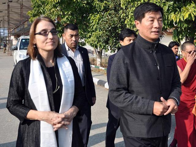 US Under Secretary Sarah Sewall at the Kangra airport along with Sikyong Lobsang Sangay and other delegates on Friday.