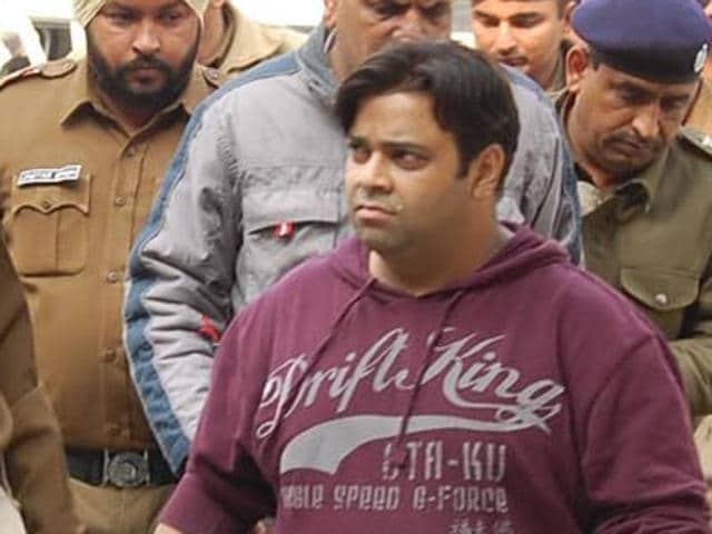 Comedian Kiku Sharda after being produced in a Kaithal court on Wednesday.