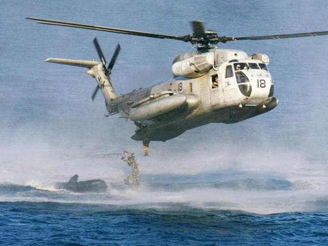 A file photo of a US Marines  CH-53D Sea Stallion helicopter. The US Coast Guard says two Marine helicopters have collided off the Hawaiian island of Oahu.