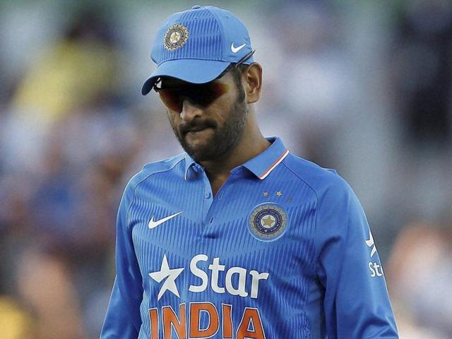 India's MS Dhoni during their one day international cricket match against Australia, in Perth on January 12, 2016.