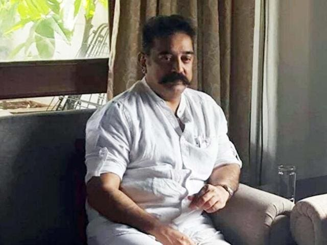 Kamal Haasan in a meeting with the MNS chief Raj Thackeray in Mumbai on October 30, 2015.