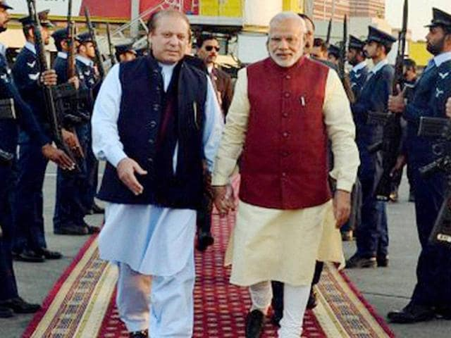 Prime Minister Narendra Modi with his Pakistani counterpart Nawaz Sharif upon his arrival in Lahore.