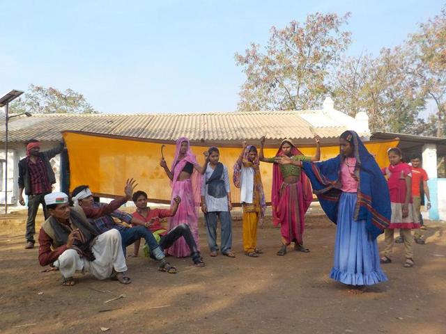 Tribal students rehearse the play in Khargone on Thursday.