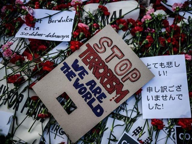 A placard reading