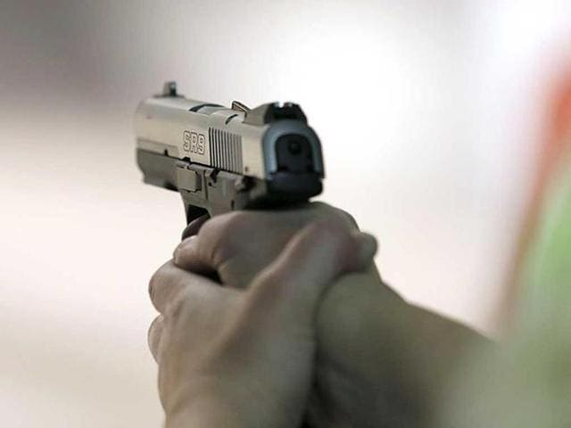 Three to four shots were fired at an approaching highway patrolling party of Punjab Police on Saturday afternoon from a car parked on the wrong side of the Patiala road at Zirakpur in this district.