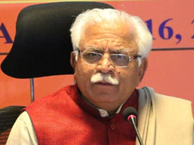 Haryana chief minister Manohar Lal Khattar addressing a press conference in Chandigarh on Saturday.