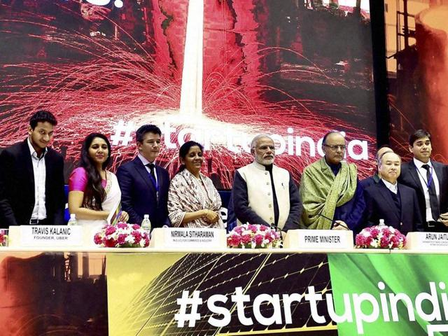 Prime Minister Narendra Modi, finance minister Arun Jaitley, commerce and industry minister Nirmala Sitharaman and delegates pose at the launching of the Start-Up India action plan at Vigyan Bhawan.