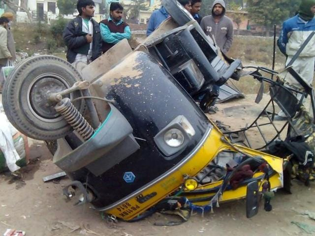 The mangled remains of the auto after the collision that happened around 9am near the Chandimandir toll plaza.
