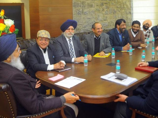 Punjab chief minister Parkash Singh Badal during a meeting with the mayors of Punjab at his official residence on Saturday.